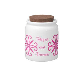 Elegant swirly girly hot pink hopes and dreams candy jar