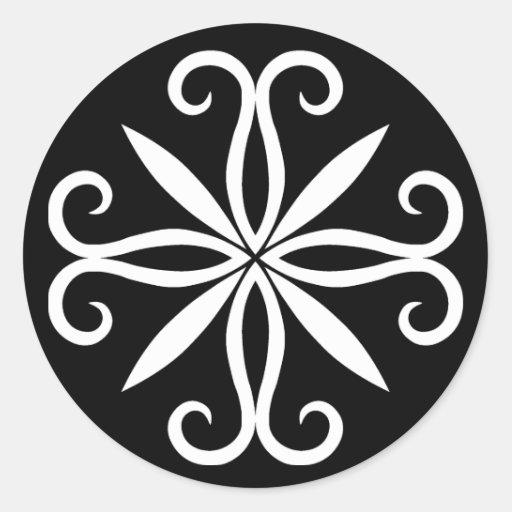 Elegant swirly white motif classic round sticker