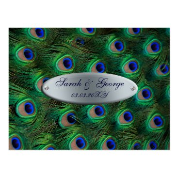 elegant t silver urquoise peacock save the date postcard