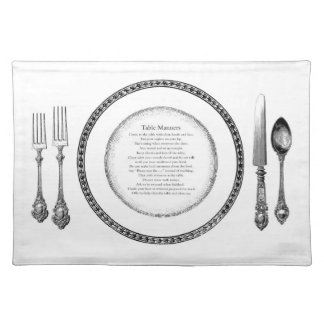 Elegant Table Manners Placesetting Cloth Placemat