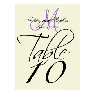 Elegant Table Number Card Wedding Beige Lavender