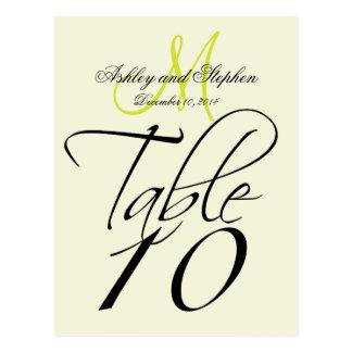 Elegant Table Number Card Wedding Beige Pear Green