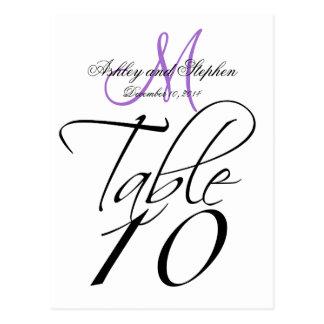 Elegant Table Number Card Wedding White Lavender