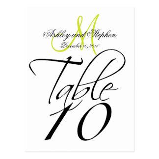 Elegant Table Number Card Wedding White Pear Green
