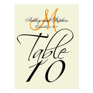 Elegant Table Number Cards Wedding Beige Tangerine