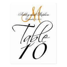 Elegant Table Number Cards Wedding Whitetangerine at Zazzle