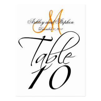 Elegant Table Number Cards Wedding WhiteTangerine