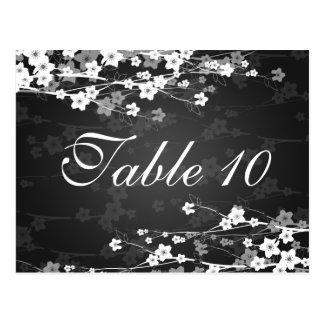 Elegant Table Number Cherry Blossom Black Postcard