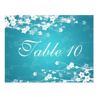 Elegant Table Number Cherry Blossom Blue Postcard