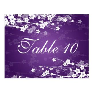 Elegant Table Number Cherry Blossom Purple Postcard