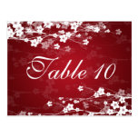 Elegant Table Number Cherry Blossom Red Post Card