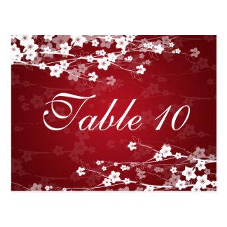 Elegant Table Number Cherry Blossom Red Postcard