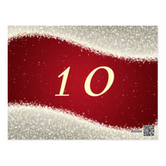 Elegant Table Number Dazzling Sparkles Red Postcard