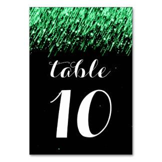 "Elegant Table Number Falling Stars ""Emerald Green"""