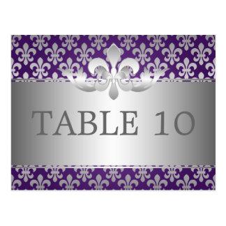 Elegant Table Number Fleur De Lis Purple Postcard