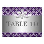 Elegant Table Number Fleur De Lis Purple Postcards