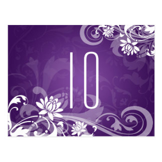 Elegant Table Number Floral Swirls Purple Post Card