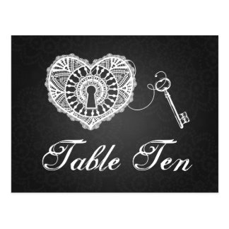 Elegant Table Number Key To My Heart Black Postcard