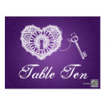 Elegant Table Number Key To My Heart Purple Postcards
