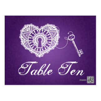 Elegant Table Number Key To My Heart Purple Postcard