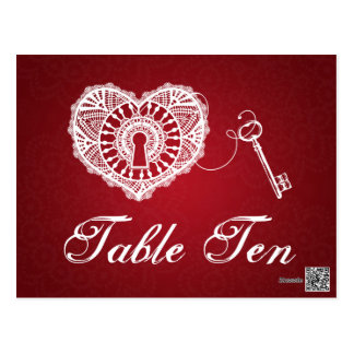 Elegant Table Number Key To My Heart Red Postcard