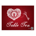 Elegant Table Number Key To My Heart Red Postcards