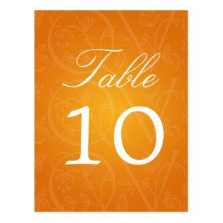 Elegant Table Number Love Flourish Orange Postcard