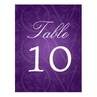 Elegant Table Number Love Flourish Purple Postcard