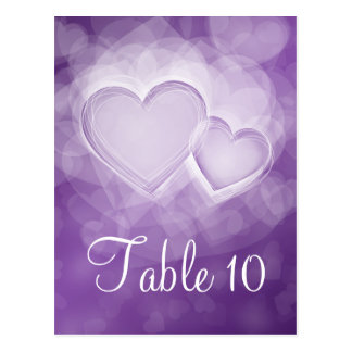 Elegant Table Number Modern Hearts Purple Postcards