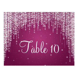 Elegant Table Number Night Dazzle Berry Pink Postcard
