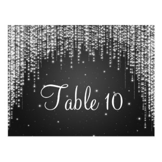 Elegant Table Number Night Dazzle Black Postcard