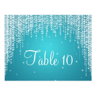 Elegant Table Number Night Dazzle Blue Postcard