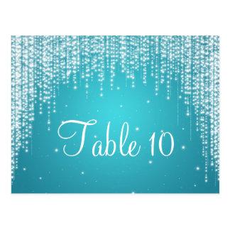 Elegant Table Number Night Dazzle Blue Postcard