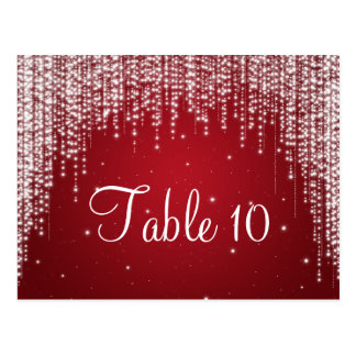Elegant Table Number Night Dazzle Red Postcard