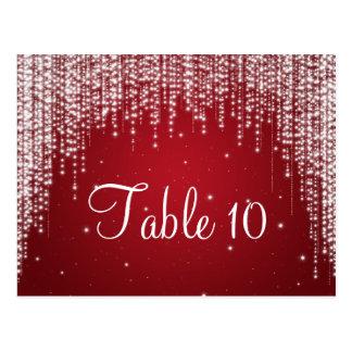 Elegant Table Number Night Dazzle Red Postcard
