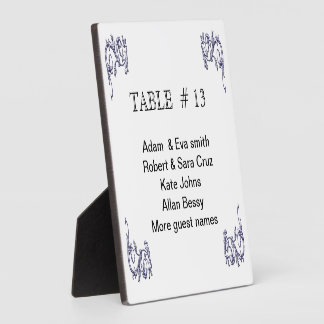 Elegant Table Number on sturdy plaque