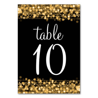 Elegant Table Number Party Sparkles Gold Table Cards