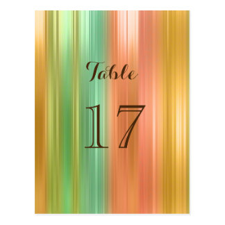 Elegant Table Number Peach and Green Stripe Postcard