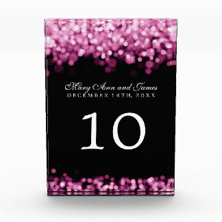 Elegant Table Number Pink Lights Acrylic Award