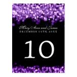Elegant Table Number  Purple Lights Postcard