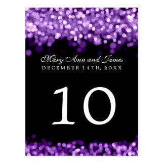 Elegant Table Number  Purple Lights Post Card