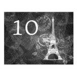 Elegant Table Number Romantic Paris Black Post Card