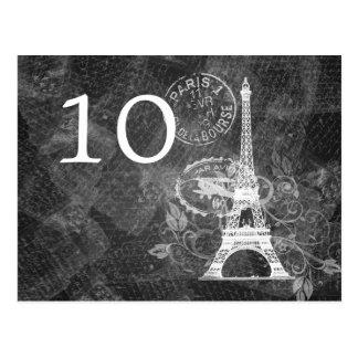 Elegant Table Number Romantic Paris Black Postcard