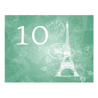 Elegant Table Number Romantic Paris Mint Green Postcard