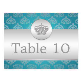Elegant Table Number Royal Crown Blue Postcard