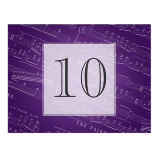 Elegant Table Number Sheet Music Purple Postcard