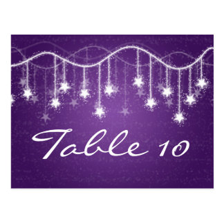 Elegant Table Number Shimmering Stars Purple Postcard