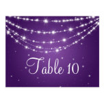 Elegant Table Number Sparkling Chain Purple Postcard