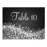 Elegant Table Number Sparkling Wave Black Postcard