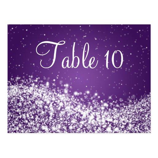 Elegant Table Number Sparkling Wave Purple Post Card